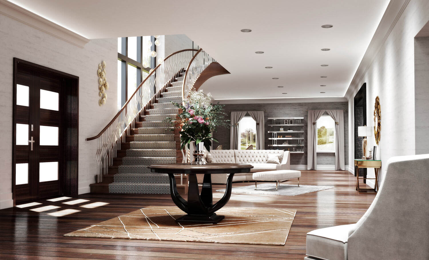 A luxurious entrance hall with feature wooden table at the centre and sweeping staircase to the left, all created in CGI by Image Foundry Studios