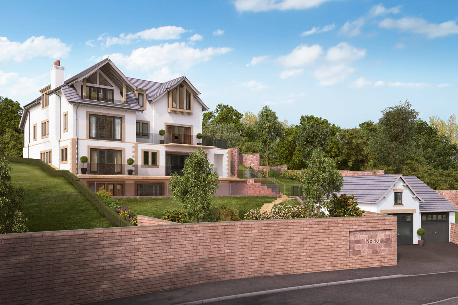 Exterior CGI property shot showing the full manor building, with large landscapes lawns, mixed planting and a tall brick wall to the front.
