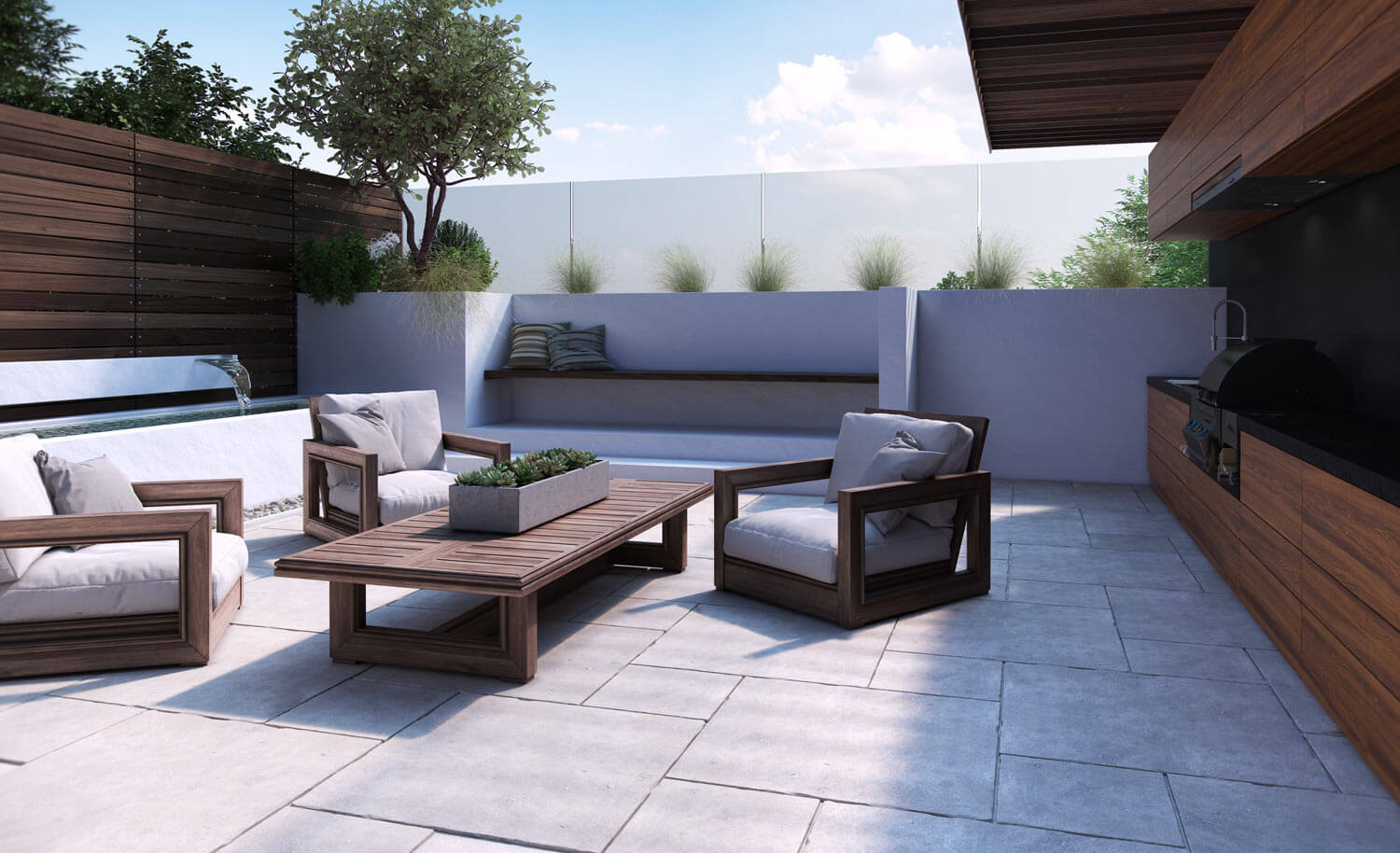 A wide open courtyard created in high quality CGI, with modern wooden garden furniture and pale cushions, wood panelled walls and large concrete slabs to the floor
