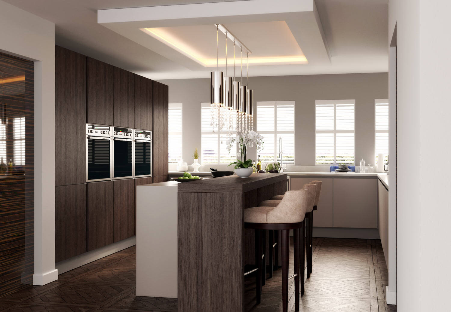 Beautiful CGI rendering of a modern kitchen, with central breakfast bar, triple wall-mounted ovens and attractive feature lighting.