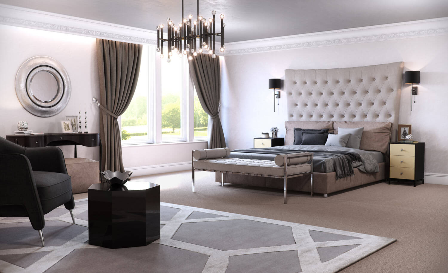 3D computer generated visual of a grand bedroom, with tall feature headboard, luxurious fittings and expensive soft furnishings.