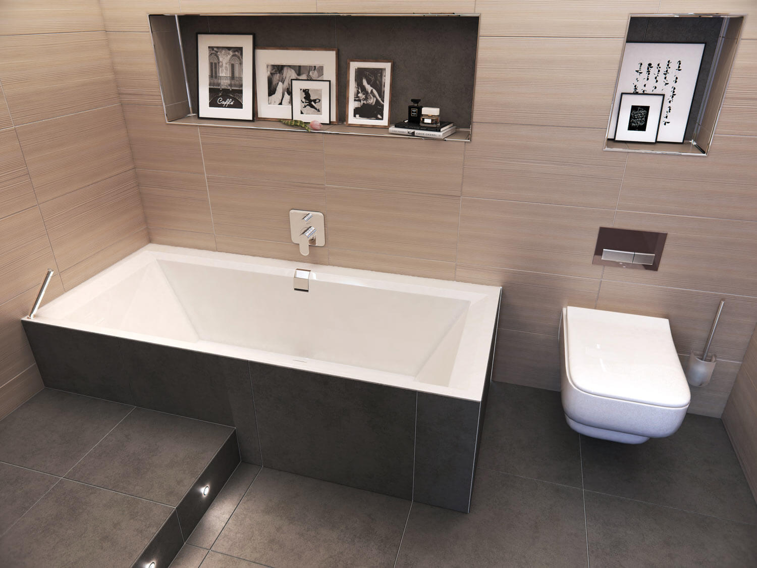 Cameo shot of a sleek modern bathroom, with pale wood panelling to the walls, slate grey floor tiles, and shelving above the suite showing black and white photography and art.