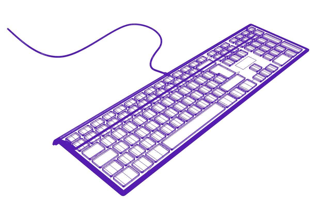 3D Render Wireframe of Keyboard