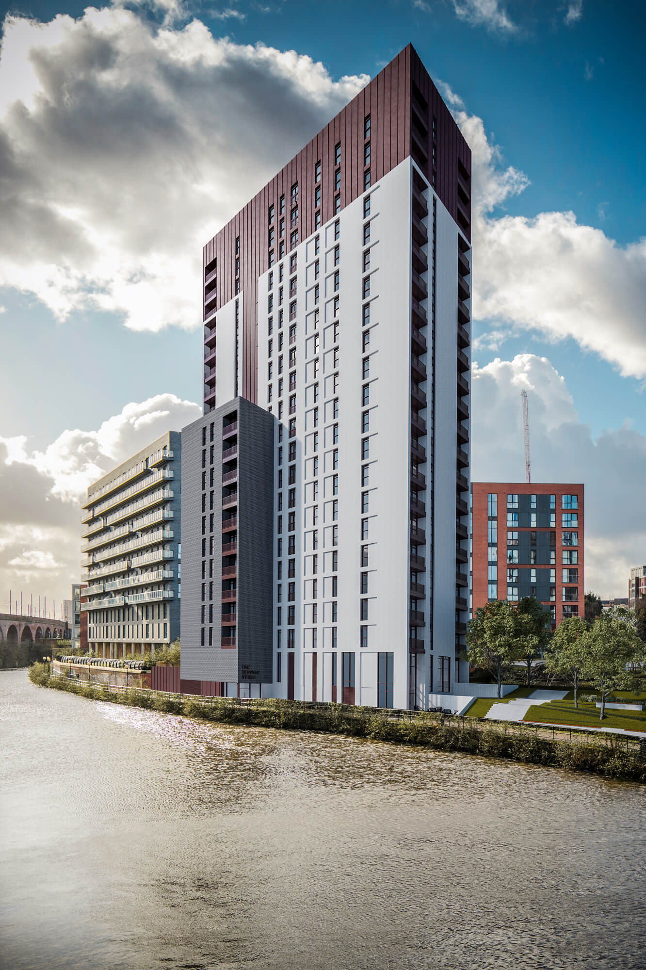 Urban CGI of Derwent Street high rise development, with a central building surrounded by a canal and passing clouds.