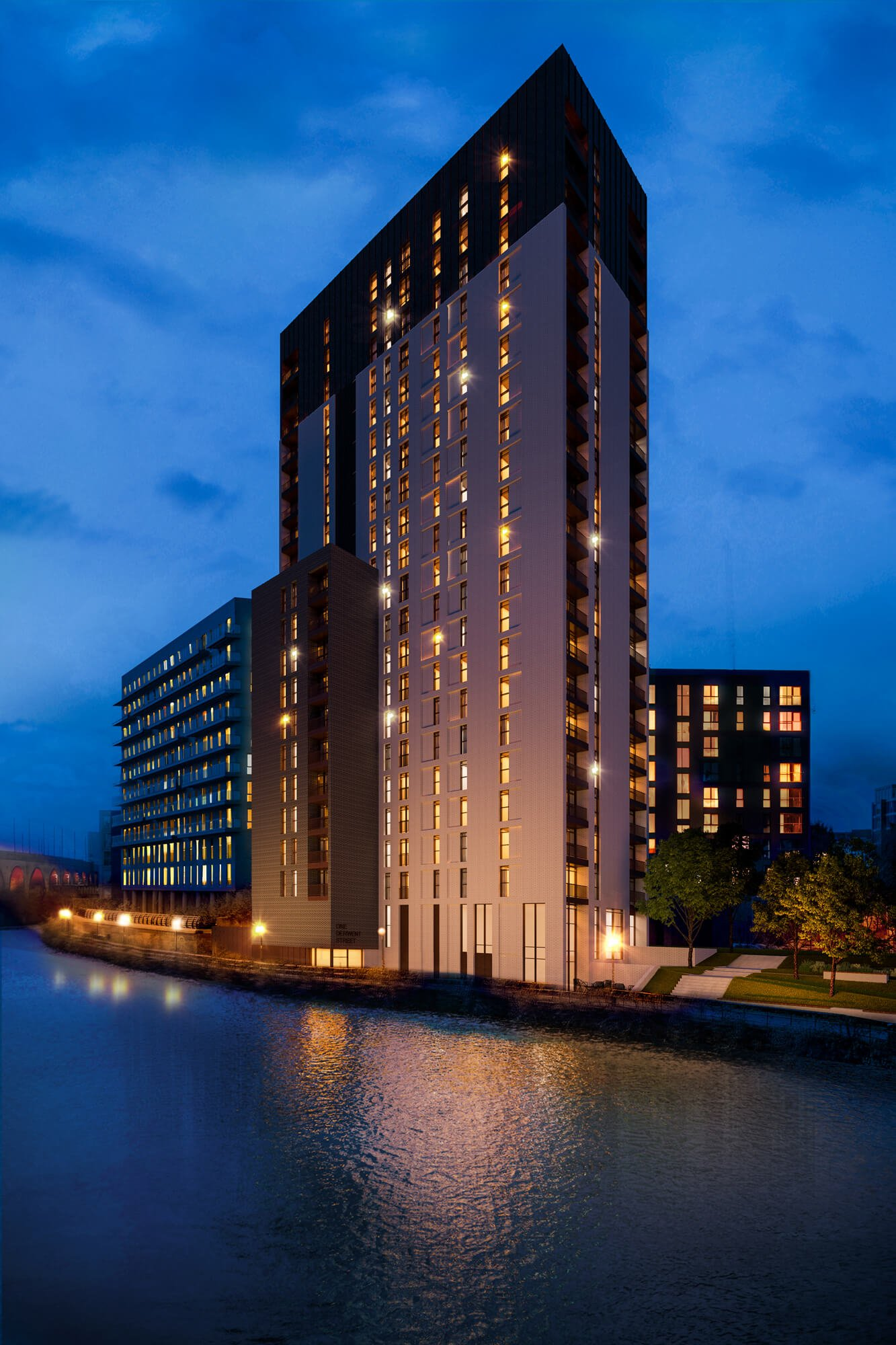 Urban CGI of Derwent Street high rise development, with a central building surrounded by a canal, viewed at night with ambient lighting.