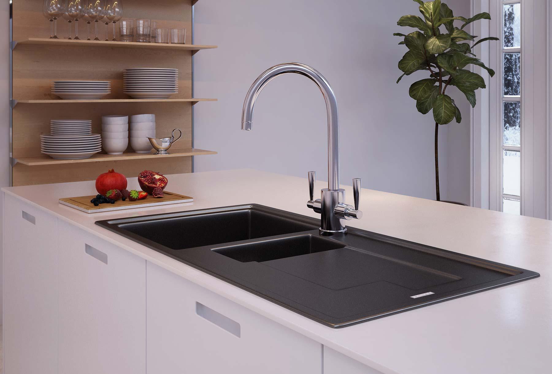 Kitchen CGI Brassware Basin