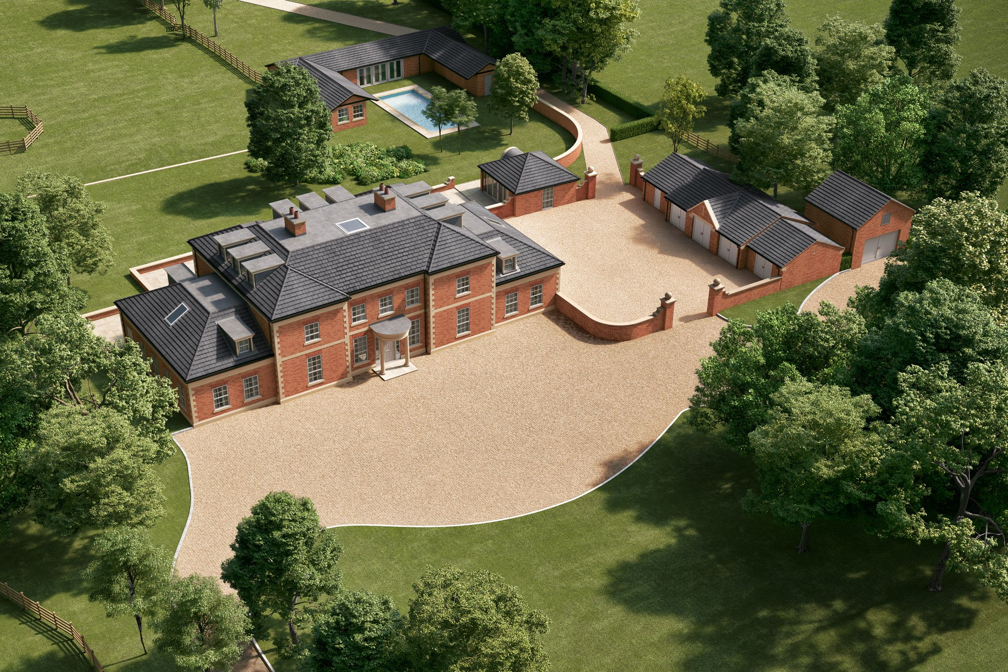 A birdseye view of the expansive Chaseley Farm manor building and surrounding landscape, with pool, stables and large gravel driveway.