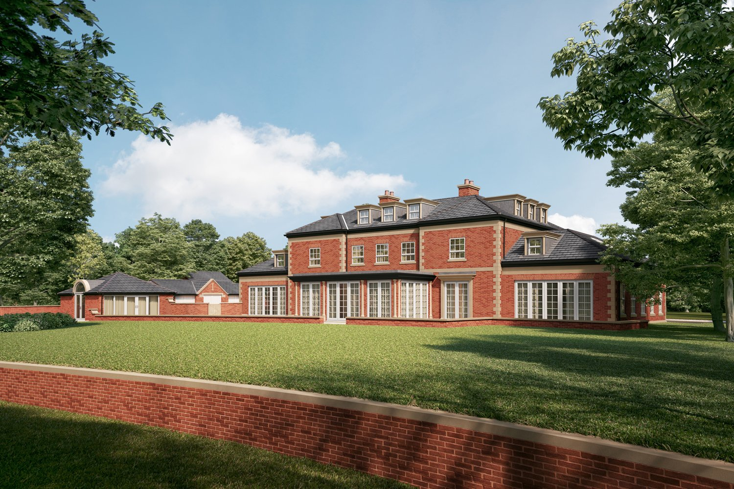 A back view of the impressive Chaseley Farm building, with a view of the summerhouse, lawns and surrounding brick walls.