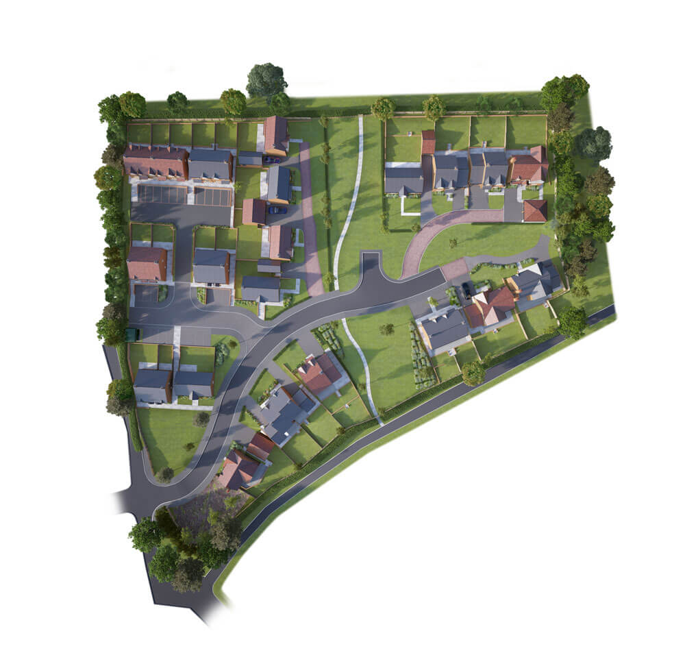 A birdseye plan of the Hillside View development, showing houses from above complete with gardens and exterior spaces.