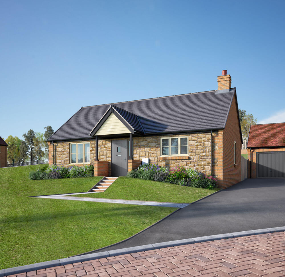 Attractive stone-built bungalow at Plot 12 of Hillside View, with angular pathway over landscaped lawns, long tarmac drive and garage.