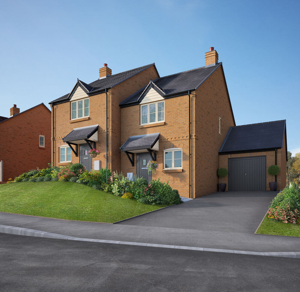 Attractive semi-detached property image of Plot 2 House in Hillside View, with high gardens and large drive leading to a garage.