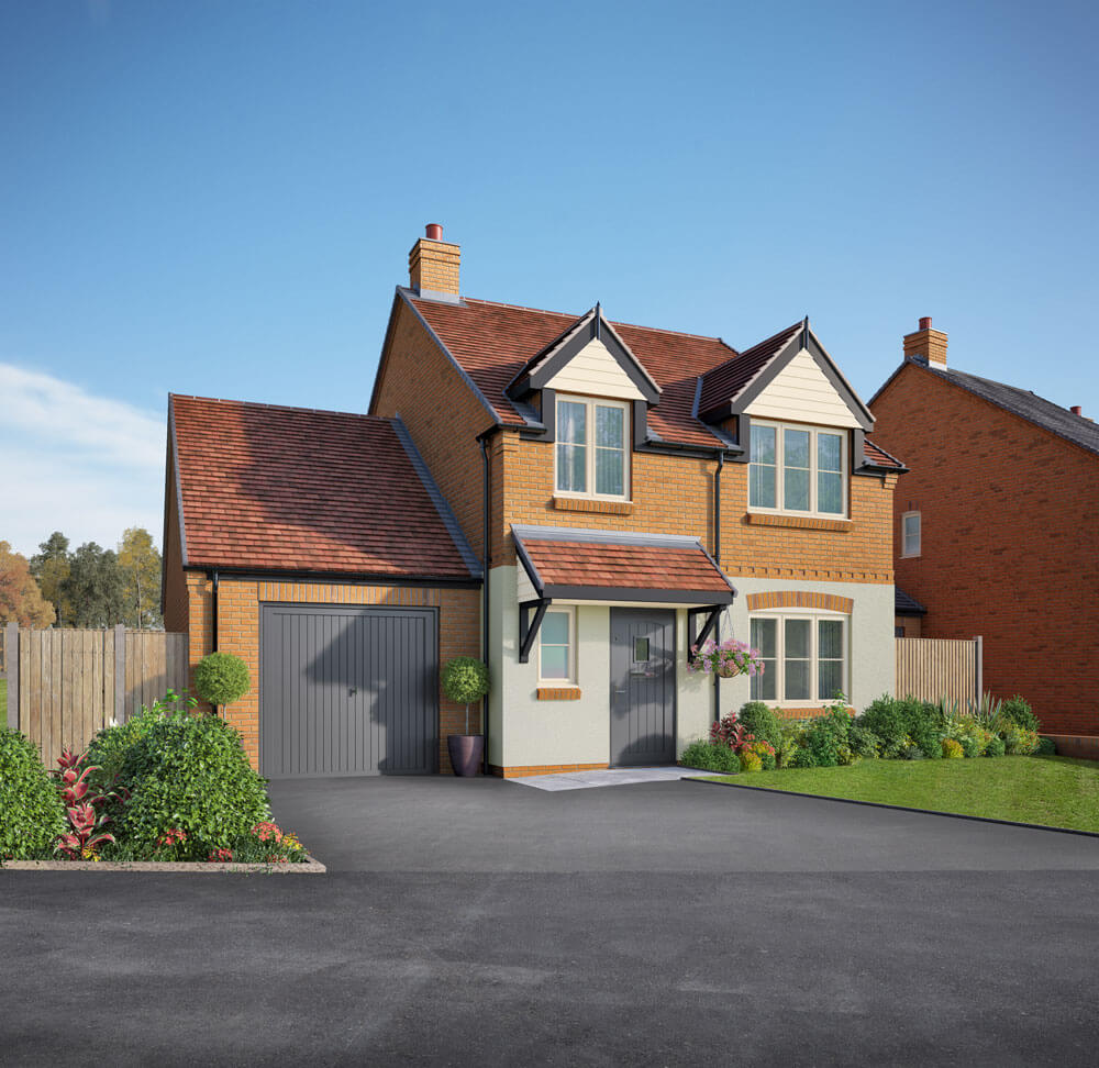 An attractive front on view of the Plot 3 house in Hillside View, complete with garage, driveway and landscaped garden.