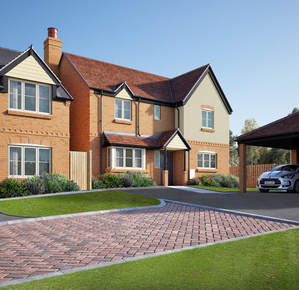An attractive front on view of the Plot 9 House in Hillside View, featuring covered parking area, brick-laid pathway and landscaped garden.