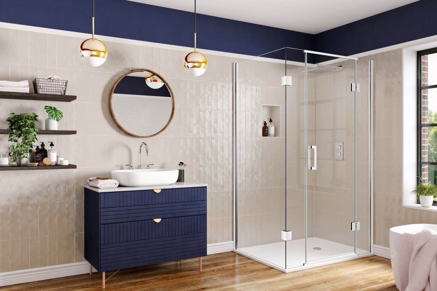 A luxurious tiled bathroom in cream and deep navy blue, with gold accents and wooden floorboards. A feature sink sits in the centre, with an attractive shower in one corner.