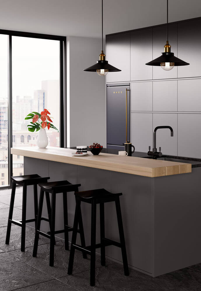Stylish kitchen with grey and wood theme, featuring black bar stools and hanging lights. French doors to the background lead to a garden, while the back wall has a modern sink and a built in fridge.