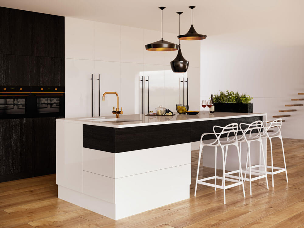A stunning monochrome kitchen with modern design - wooden floorboards, black wood and gloss white cupboards. Sleek black and brass lights hang above the island, surrounded by funky tall chairs, with floating wooden stairs in the background.