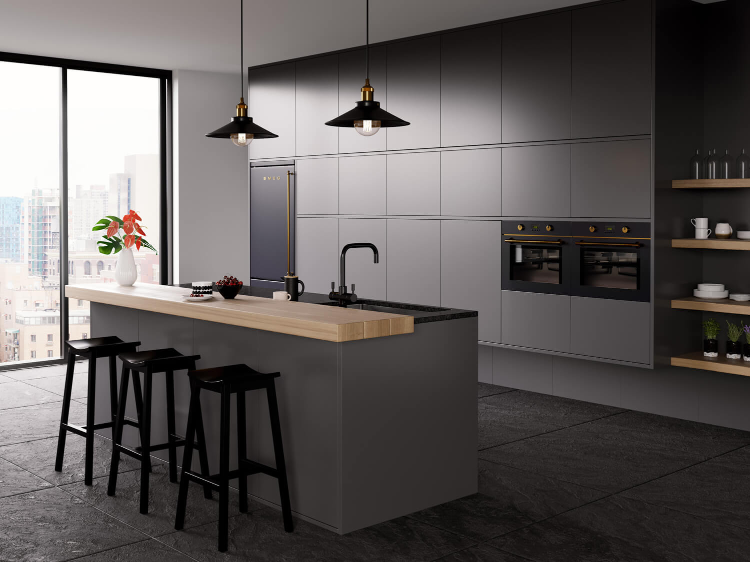 Stunning modern kitchen 3D rendering showing tap product CGI - monochrome design with wood island to the centre, shelves in the background and fitted fridge.