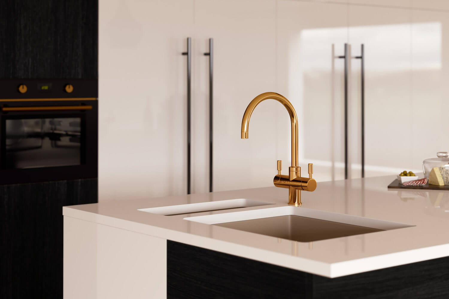 Close up on kitchen 3D rendering showing tap product CGI - sleek black and white design with polished wooden floors, gold tones and taps to the centre