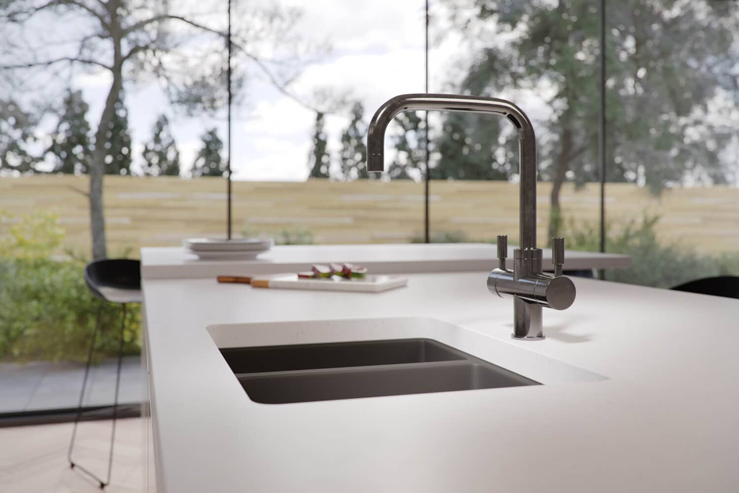 Close up of kitchen 3D rendering showing tap product CGI - smooth white counter tops and pale colour scheme, with large windows in the background showing the garden.