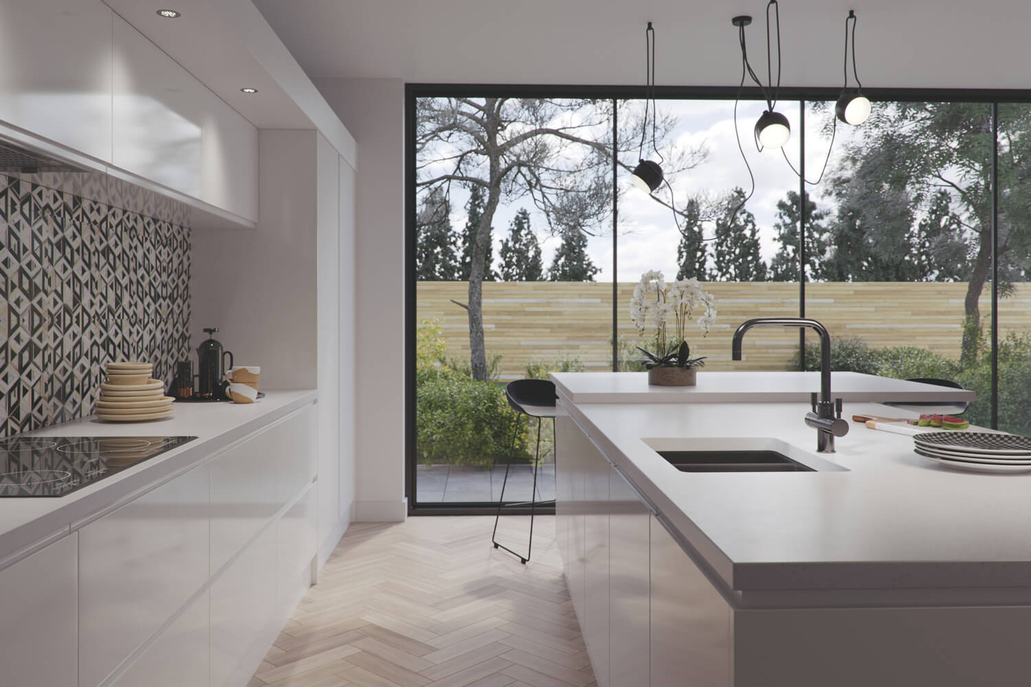 Amazing traditional kitchen 3D rendering showing tap product CGI - smooth white counter tops and pale colour scheme, with large windows in the background showing the garden.