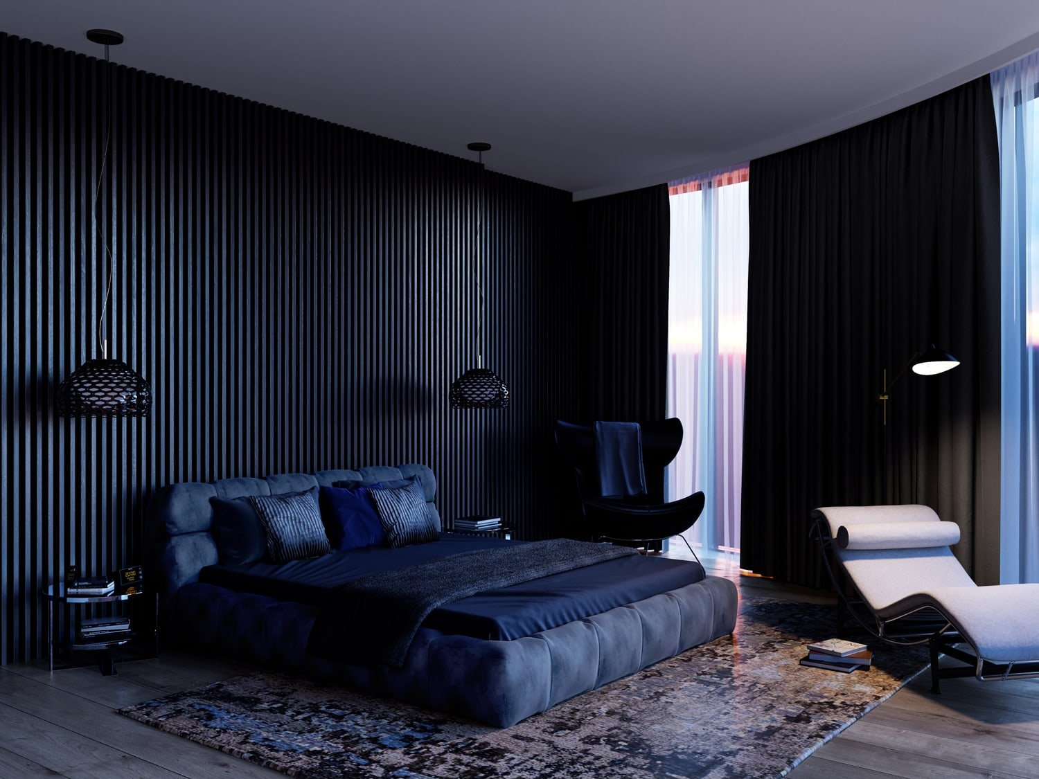 Dark evening shot of a luxurious bedroom, with partly open curtains showing sunset light through the windows. The room is neat and expensive looking. Part of the dynamic creative pack.
