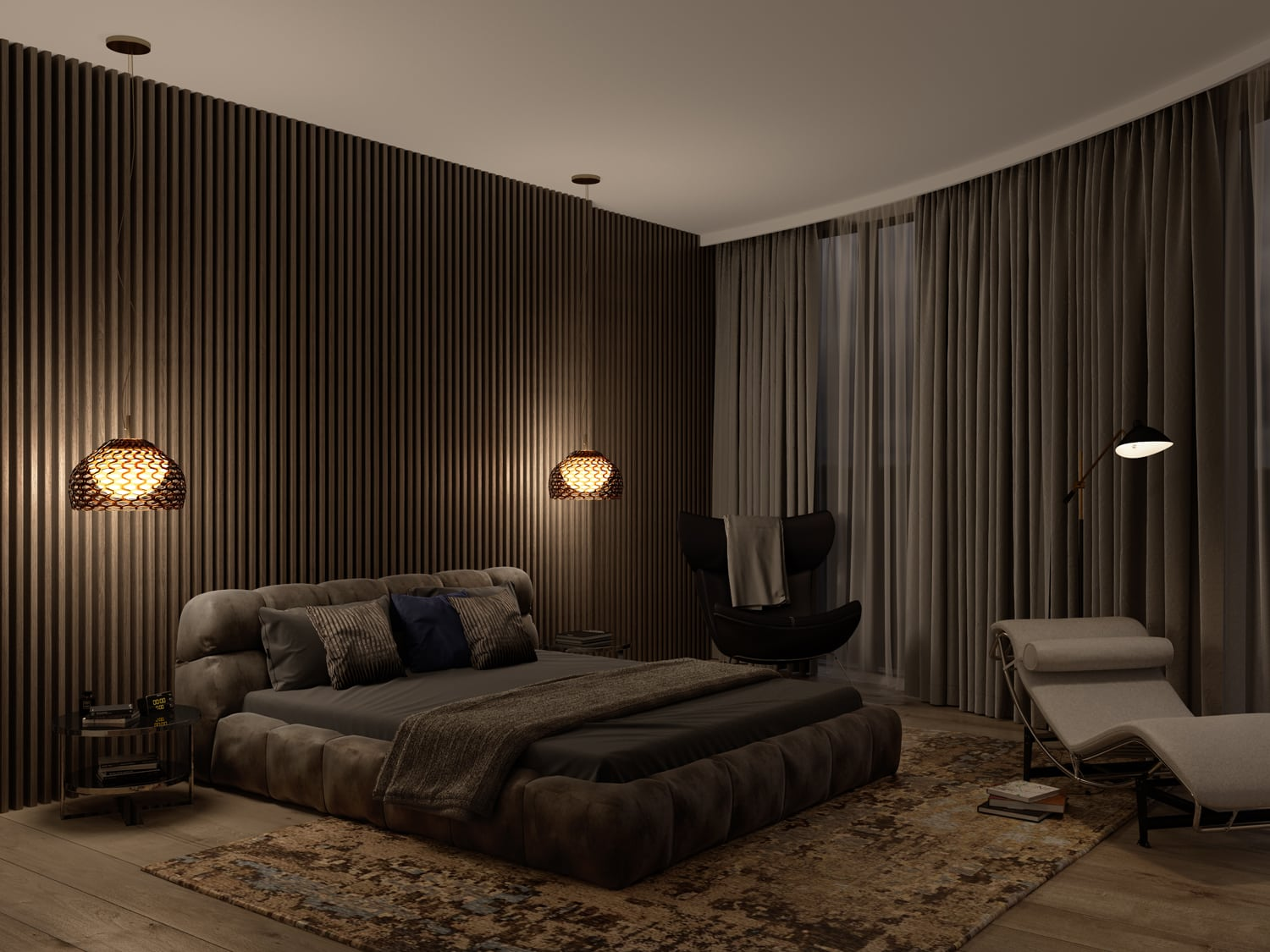 Impressive CGI bedroom image at night time, with closed curtains, plush made bed, and intricate lighting on the panelled wall. Part of the dynamic creative pack.