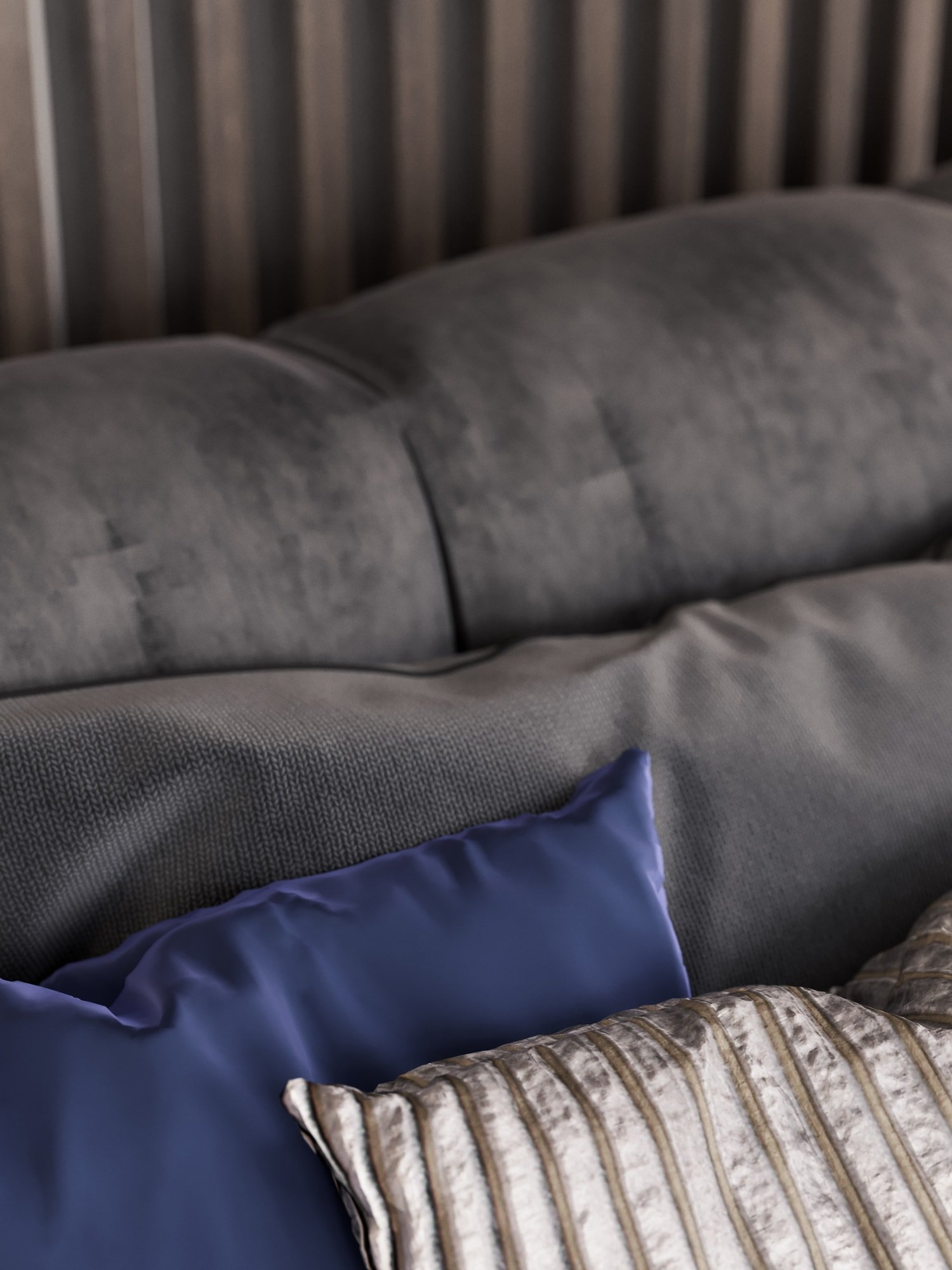 Close up of the textured pillows and velvet headboard of a luxurious bed. Part of the dynamic creative pack.