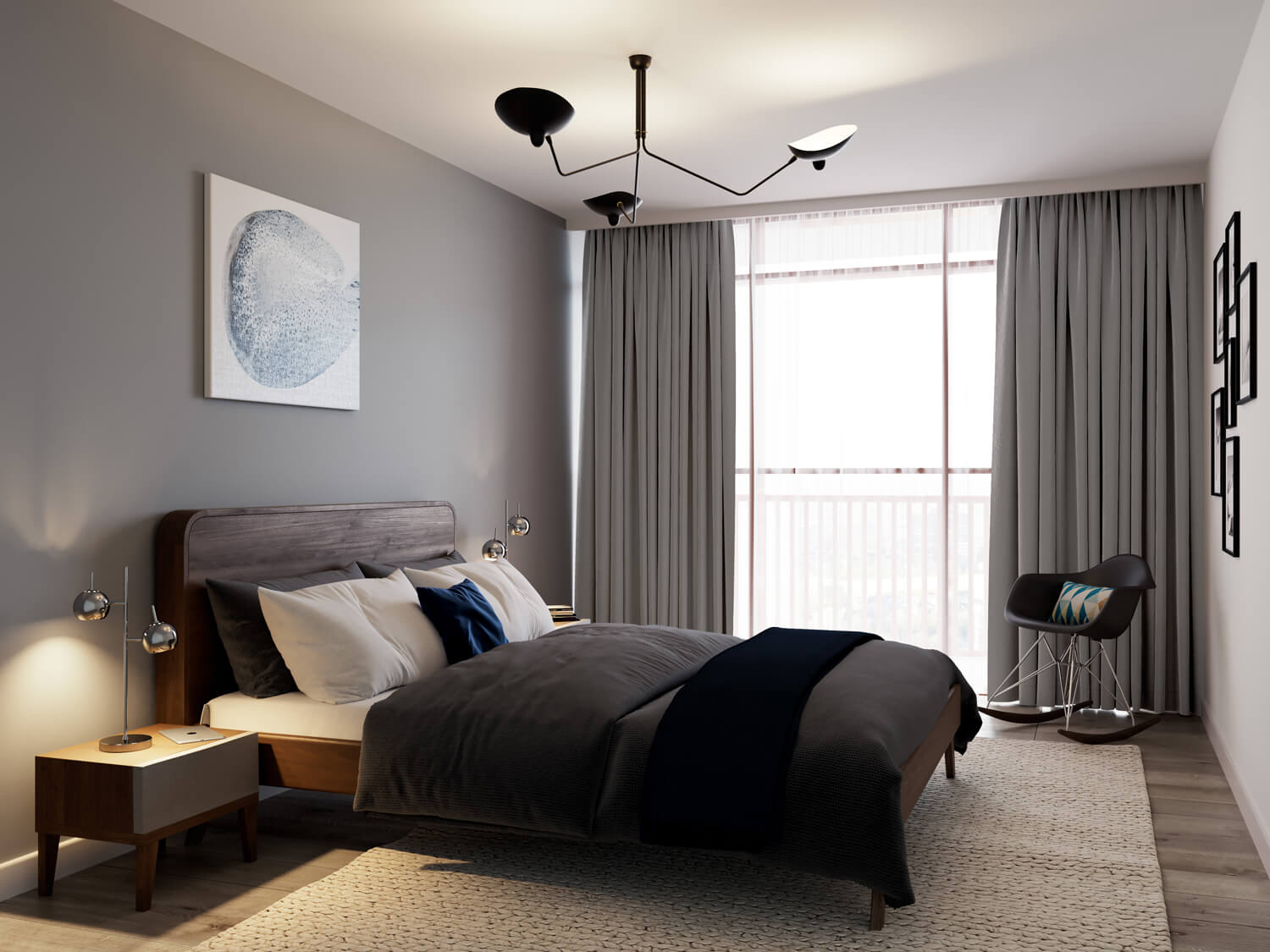 Urban CGI of Derwent Street high rise development, featuring a cosy bedroom in neutral colours, with large comfortable bed and a feature window wall behind soft grey curtains.