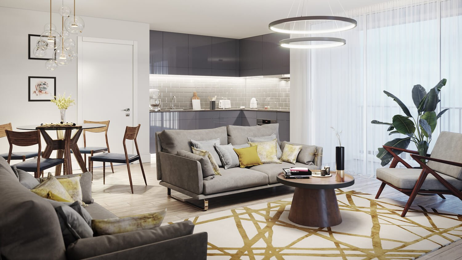 Urban CGI of Derwent Street high rise development, showing the interior of the lounge in a modern, cool style with lemon accents.