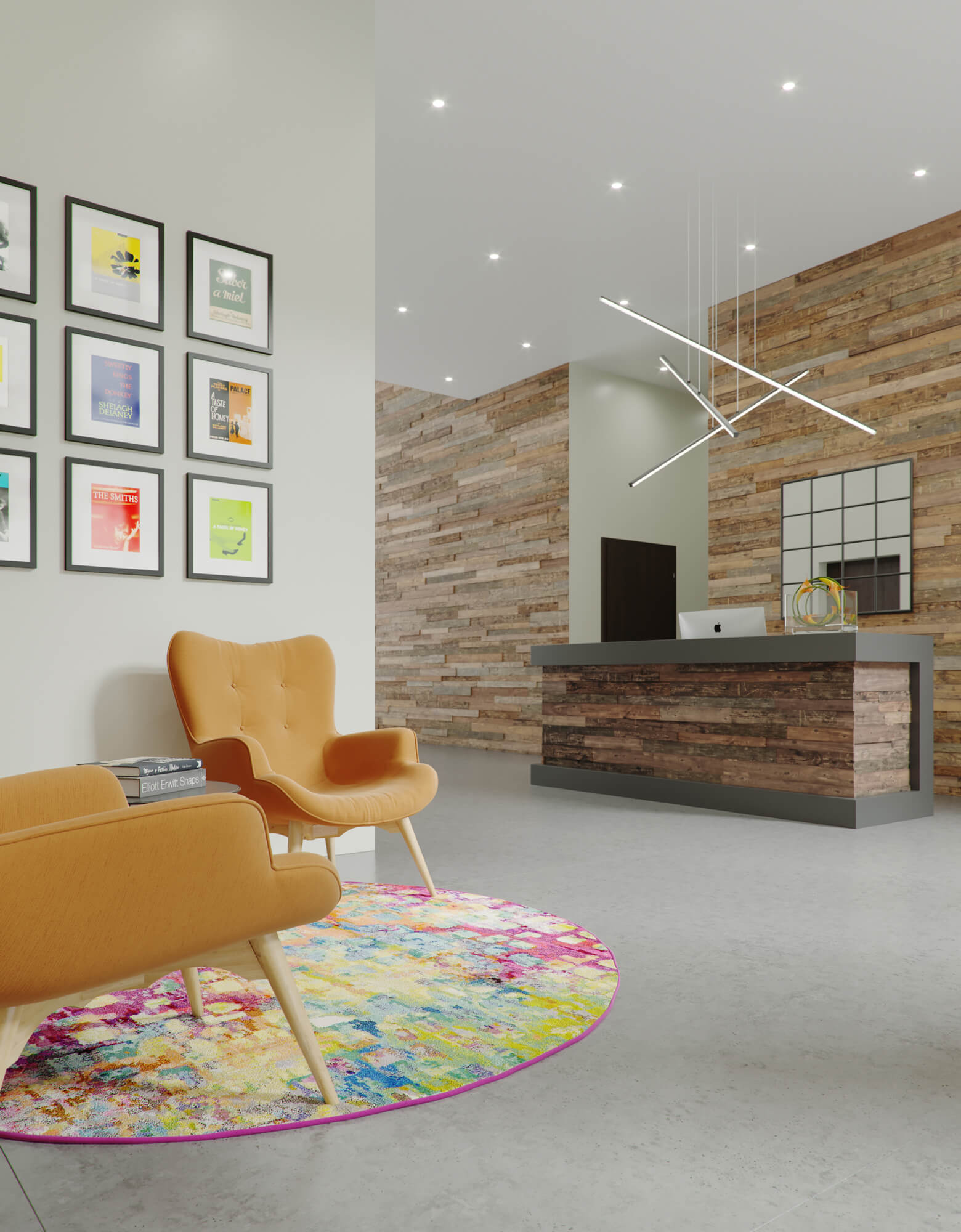 Urban CGI of Derwent Street high rise development, showing the lobby and entrance hall, with stylish seating areas to each side and colourful pictures on the wall.