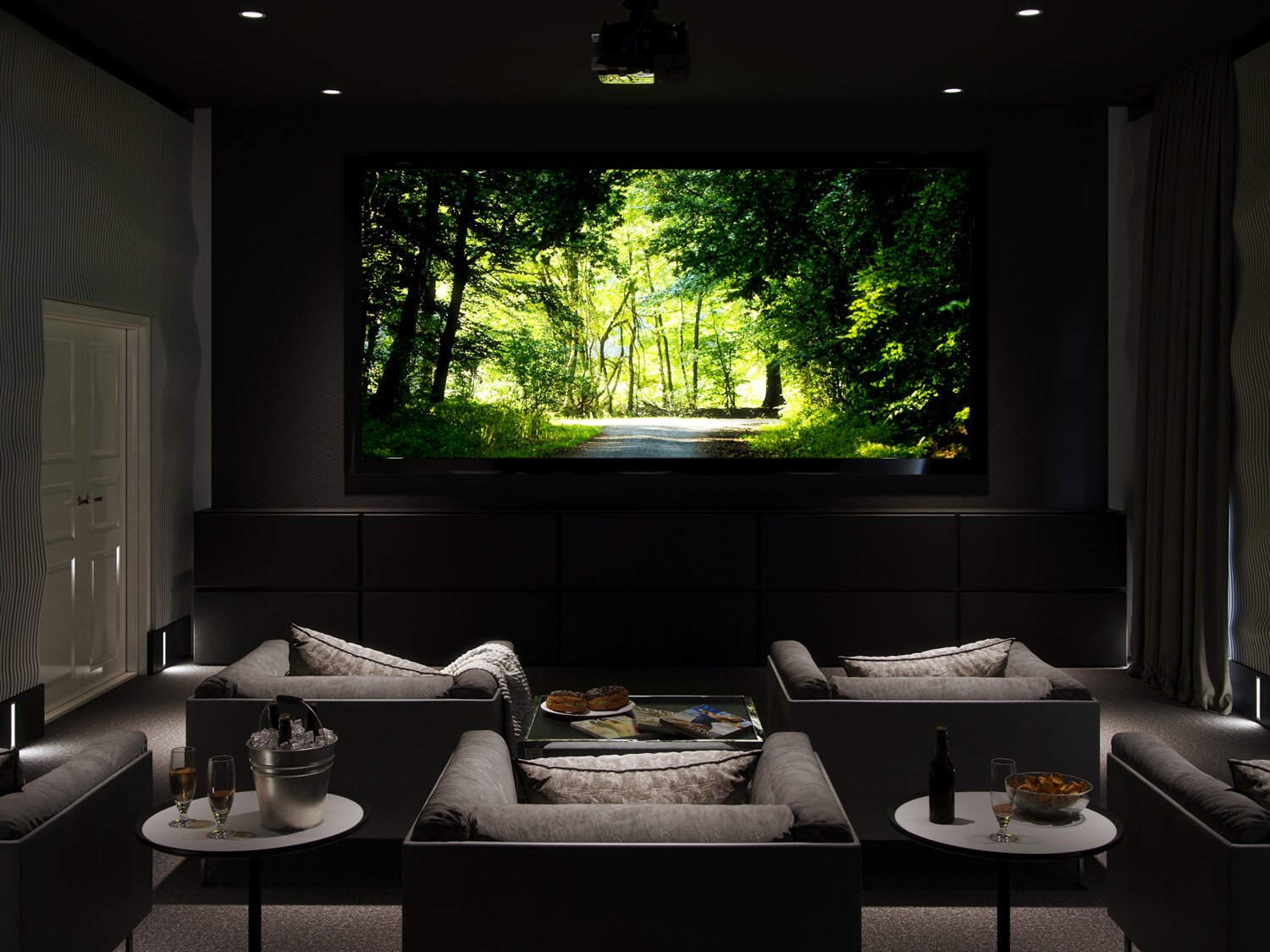 Urban CGI of Derwent Street high rise development, featuring a state of the art private cinema with comfortable armchairs, individual side tables, and large central screen.