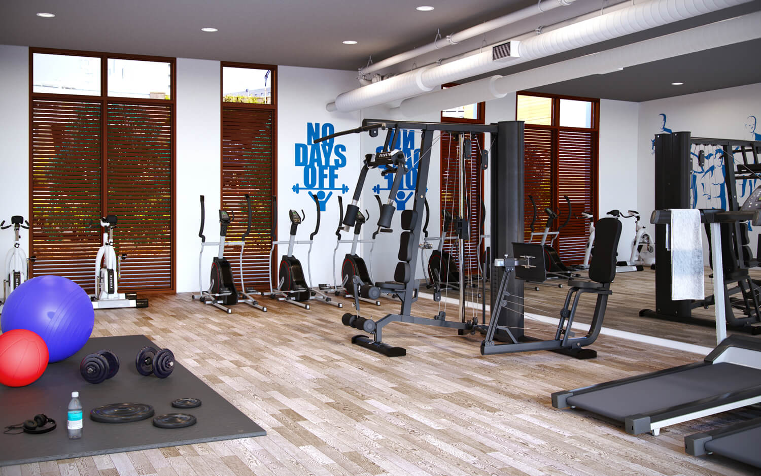 Urban CGI of Derwent Street high rise development, showing a fully equipped gym with treadmills, bikes and weights machines.