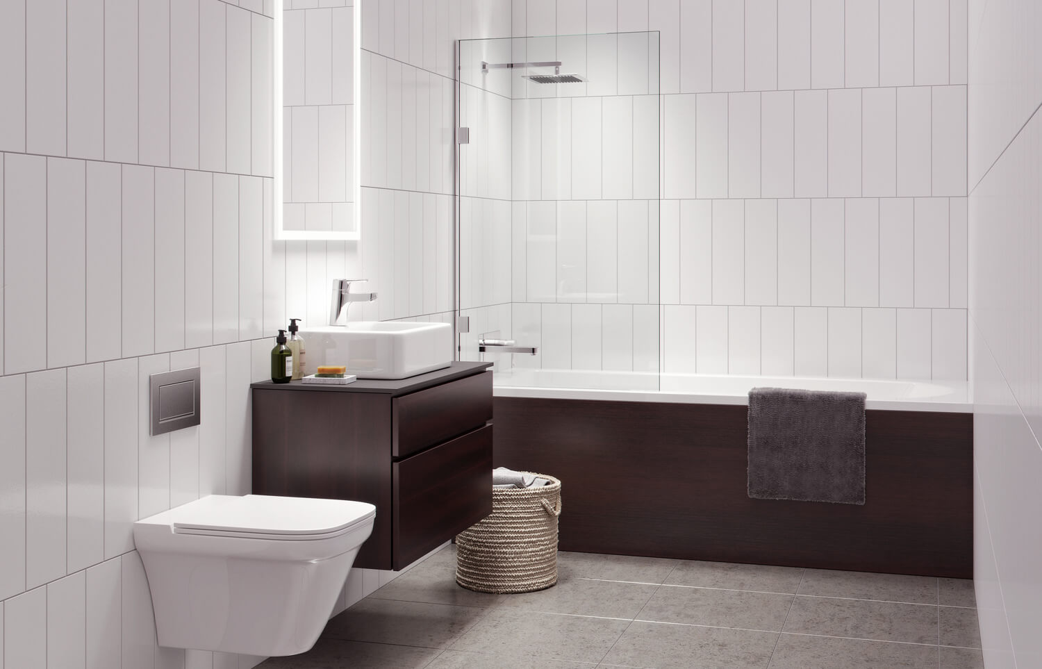 Urban CGI of Derwent Street high rise development, showing a clean fresh bathroom with white tiled walls, warm brown wooden bath side and cabinet, and modern 3 piece suite.