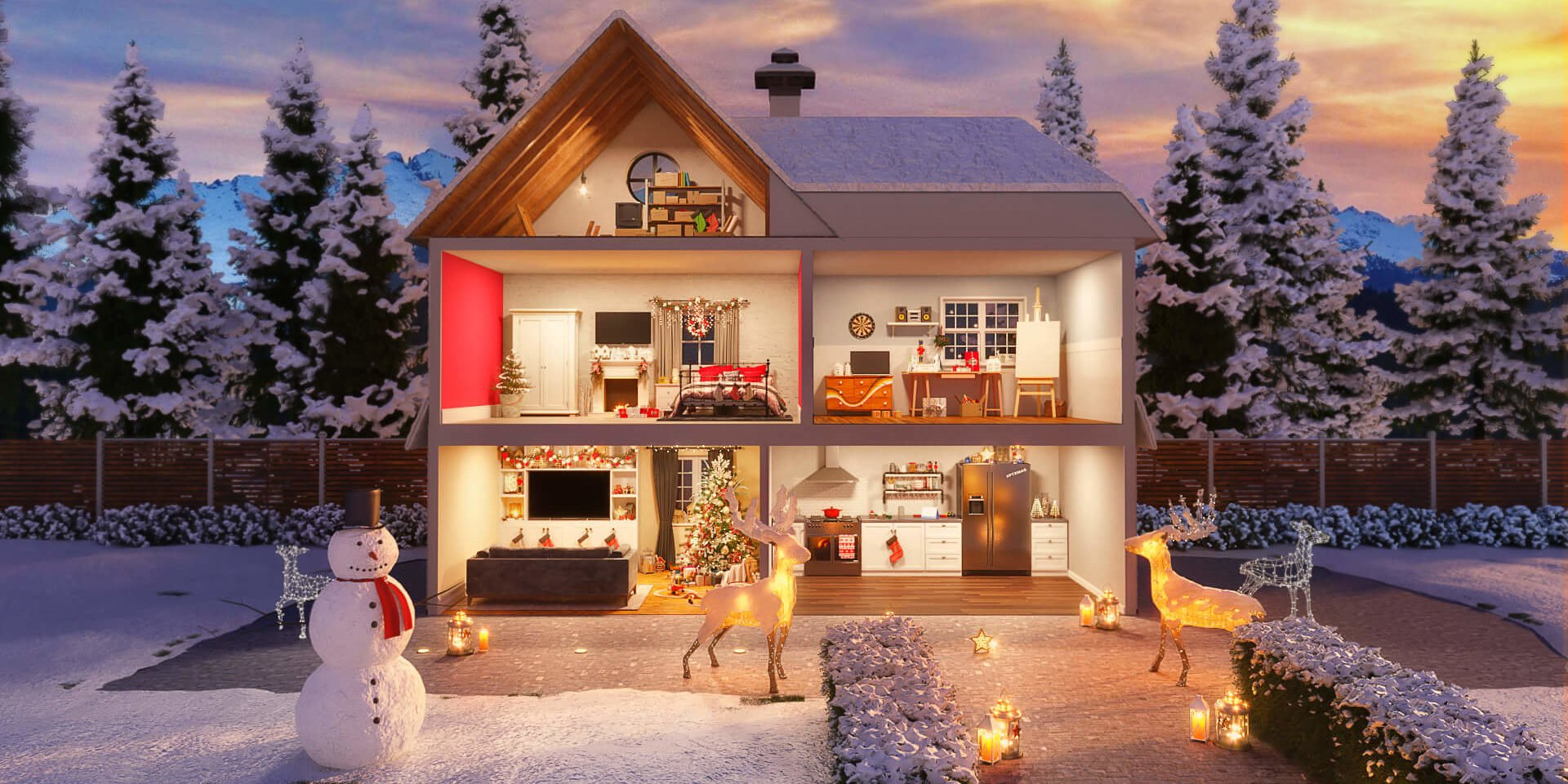 Pentatonix Christmas House Cutaway - Festive Interior CGI Project with Modern English